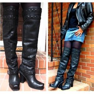 Over The Knee Boots, Black Leather, Size 8.5